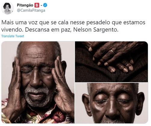 A atriz Camila Pitanga se manifestou no Twitter: