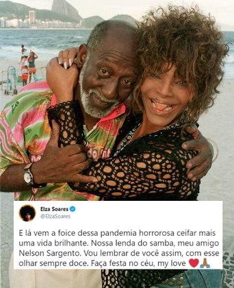 Elza Soares também lamentou a perda de Nelson e publicou uma foto com o artista: