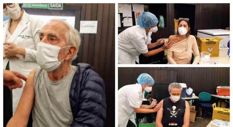 Artistas se vacinaram em um posto montado no Planetário da Gávea, no Rio
