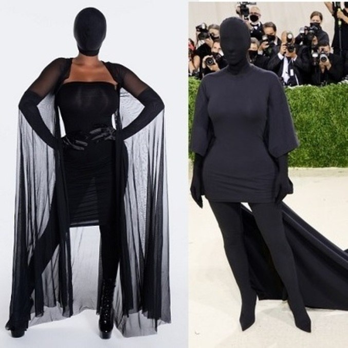 Fantasia (à esq.)inspirada no look estranho de Kim (à dir.)