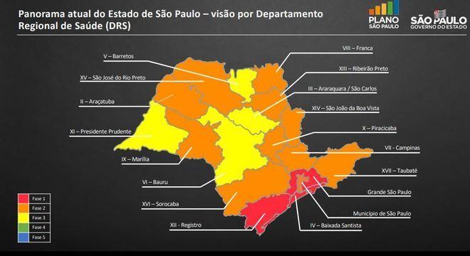Mapa indica fases em cada região do estado