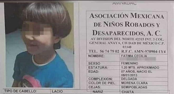 Fátima Cecilia Aldrighett Anton desapareceu em 11 de fevereiro, quando esperava a família ao deixar a escola. Uma mulher desconhecida a levou