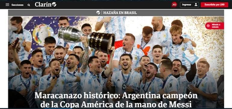 Fazendo alusão a 'la mano de Dios', o Clarín brincou com o lance de Maradona e colocou que a Copa América veio pelas mãos de Messi.