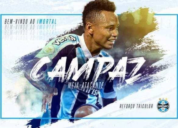FECHADO - Agora é oficial. Após semanas de muita negociação com o Tolima, o Grêmio finalmente anunciou a chegada de Jaminton Campaz. O acordo entre o Tricolor com o time colombiano foi sacramentado na casa dos US$ 4 milhões. O atleta assinou o vinculo até 2025.