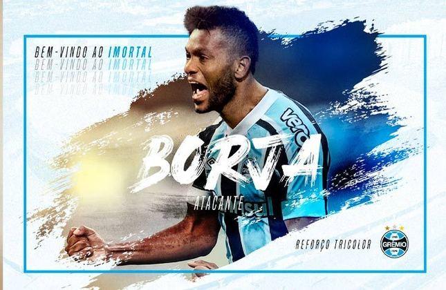 FECHADO - Agora é oficial. Miguel Borja foi aprovado nos exames médicos e assinou contrato de empréstimo com o Grêmio até 2022. A chegada do centroavante foi uma oportunidade de mercado e um pedido de Luiz Felipe Scolari, que trabalhou com o colombiano no Palmeiras.