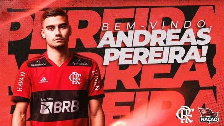 FECHADO - Andreas Pereira é o novo reforço do Flamengo. Nesta sexta, o clube oficializou a chegada do meia, que será emprestado pelo Manchester United por um ano. A negociação com o clube inglês foi rápida - pouco mais de uma semana entre a oferta feita e a assinatura do vínculo. Assim como fez com Kenedy, vindo do Chelsea, o Rubro-Negro terá a opção de compra ao término do empréstimo.