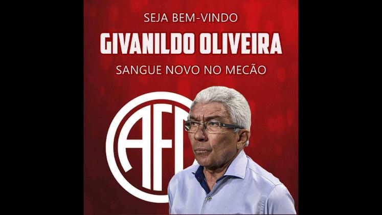 FECHADO - Givanildo Oliveira é o novo técnico do América-RJ. Aos 72 anos, o treinador chega para comandar o time na fase preliminar do Campeonato Carioca. Givanildo tem 18 estaduais, quatro títulos nacionais no currículo e duas copas regionais.