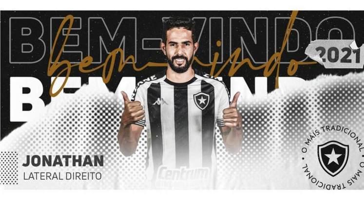 FECHADO - Já esperado, Jonathan foi oficializado pelo Botafogo. Nesta quinta-feira, o lateral-direito foi anunciado pelo clube, cujo vínculo é válido até dezembro de 2021. Ele tem 28 anos e atuou pelo Coritiba no último Campeonato Brasileiro.