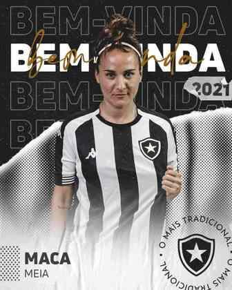 FECHADO - Na tarde desta quinta-feira, o Botafogo anunciou a contratação da meio-campista Maca Lopez para o time feminino. A jogadora de 35 anos tem passagens pela Seleção do Peru e o último time que defendeu foi o Sporting Cristal, do Peru. Pelas redes sociais, o Alvinegro comemorou a contratação.