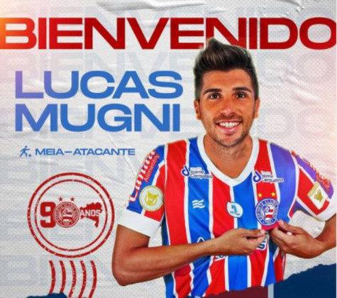 FECHADO - Na tarde desta sexta-feira, o Bahia confirmou a chegada do meia Lucas Mugni, que estava livre no mercado de transferências. O acordo é até dezembro de 2022.