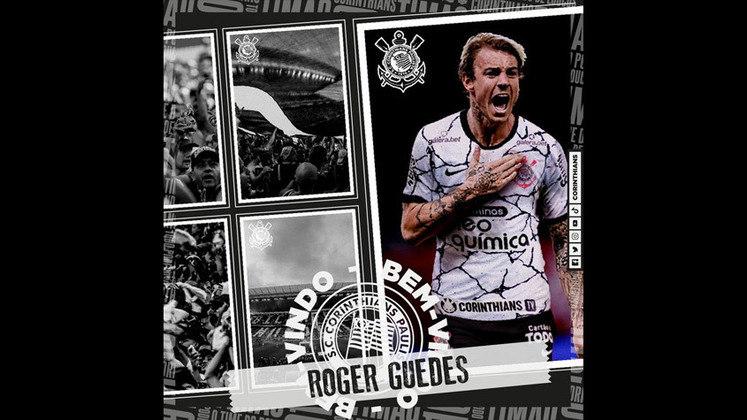 FECHADO - Na tarde desta sexta-feira, o Corinthians finalmente anunciou a contratação de Roger Guedes, que estava livre no mercado após rescindir com o Shandong Taishan, da China, na última segunda.
