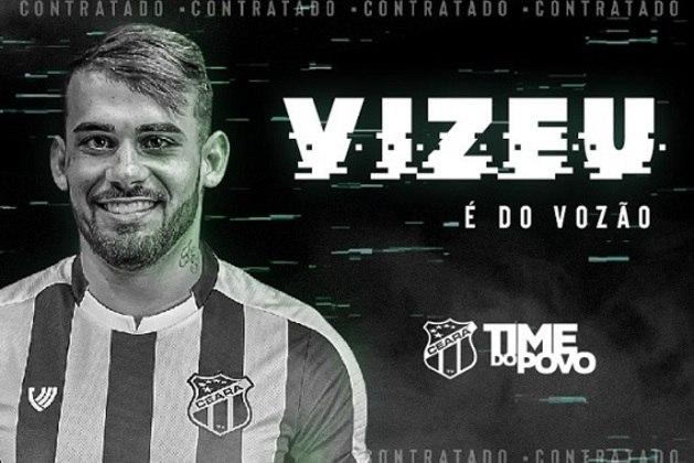 FECHADO - O atacante Felipe Vizeu, ex-Flamengo e ex-Grêmio, está de volta ao futebol brasileiro. O jogador foi anunciado oficialmente como o mais novo reforço do Ceará. O atleta de 23 anos estava no Akhmat Grozny, da Rússia, e foi emprestado ao Vozão até junho de 2021.