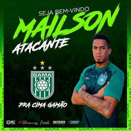 FECHADO - O atacante Mailson, com passagem pela Chapecoense, Criciúma e CRB, chegou ao Gama com o objetivo de ajudar a levar a equipe para a Série C do Campeonato Brasileiro.