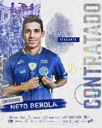FECHADO - O atacante Neto Berola está de clube novo para 2021. O atacante chega para reforçar o Confiança na atual temporada.