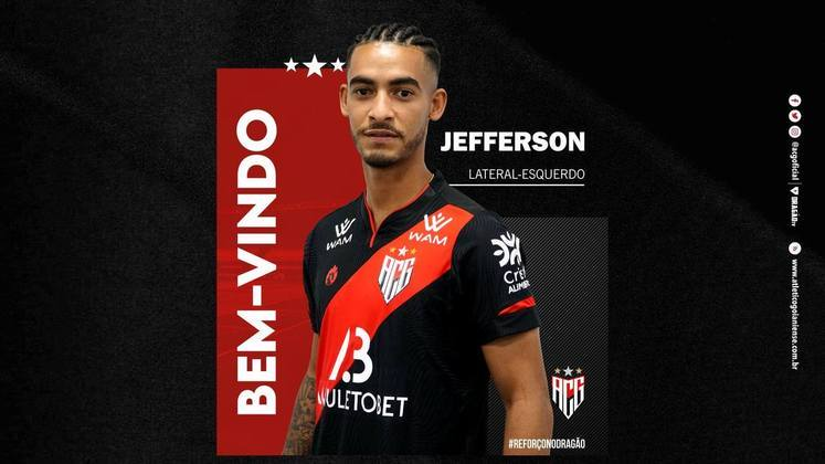 FECHADO - O Atlético-GO anunciou a contratação do lateral-esquerdo Jefferson para o restante de 2021. O Atleta já pode estrear pelo Dragão após ficar a disposição.