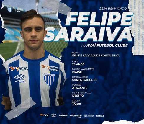 FECHADO - O Avaí oficializou a contratação do atacante Felipe Saraiva, que chega por empréstimo do Maringá até o final de 2021.