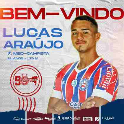 FECHADO - O Bahia anunciou a contratação do meia Lucas Araújo, ex-Grêmio em uma negociação que não teve valores envolvidos.