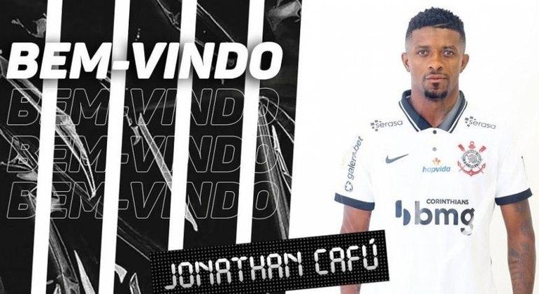 FECHADO - O Corinthians anunciou nesta segunda-feira a contratação do atacante Jonathan Cafú. Segundo comunicado divulgado pelo Alvinegro, o atleta chega sem custos ao clube, já que rescindiu com o Al-Hazm, da Arábia Saudita, camisa que defendia recentemente. Seu contrato é válido até dezembro de 2023.