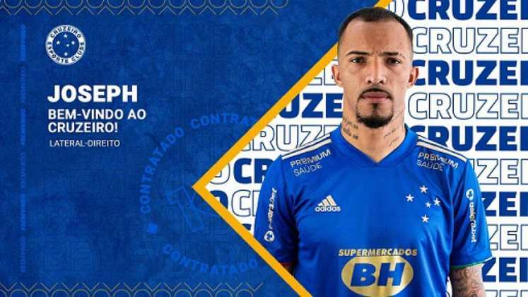 FECHADO - O Cruzeiro acertou nesta quarta-feira, 19 de maio, a chegada de Joseph para reforçar o elenco da equipe cinco estrelas. Com 26 anos, o atleta, que tem seus direitos vinculados ao Capivariano-SP, desembarca na Toca da Raposa 2 com contrato de empréstimo até o fim do Campeonato Brasileiro Série B.