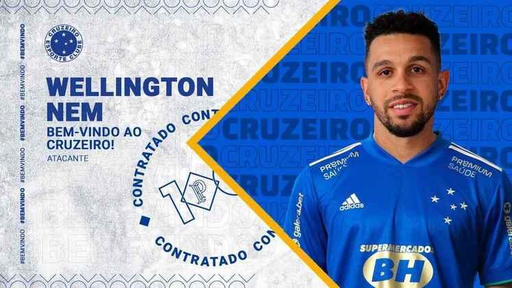 FECHADO - O Cruzeiro anunciou a chegada de Wellington Nem como reforço para a temporada 2021 em busca de recuperação na Série B.
