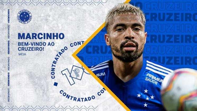FECHADO - O Cruzeiro já começou a montagem do seu elenco para a temporada 2021. Nesta sexta-feira, o clube confirmou a chegada de três reforços oriundos da Série B: o lateral-esquerdo Alan Ruschel, campeão com a Chapecoense, o volante Matheus Barbosa, que estava no Cuiabá, e o meia Marcinho, do Sampaio Corrêa. Esse último, um dos principais nomes da competição.
