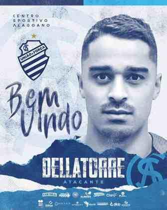 FECHADO - O CSA fechou a contratação do atacante Dellatorre, ex-Brasil de Pelotas e que chega ao clube de Alagoas para a próxima temporada.