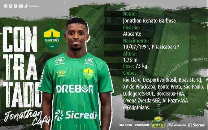 FECHADO - O Cuiabá acertou o empréstimo do atacante Jonathan Cafú, do Corinthians, até o final de 2021. O atleta não tinha espaço no elenco do Timão e defenderá outras cores no Brasileirão 2021.