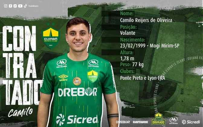 FECHADO - O Cuiabá anunciou mais um reforço para a temporada, trata-se do volante Camilo, que estava no Lyon e chega por empréstimo com opção de compra.