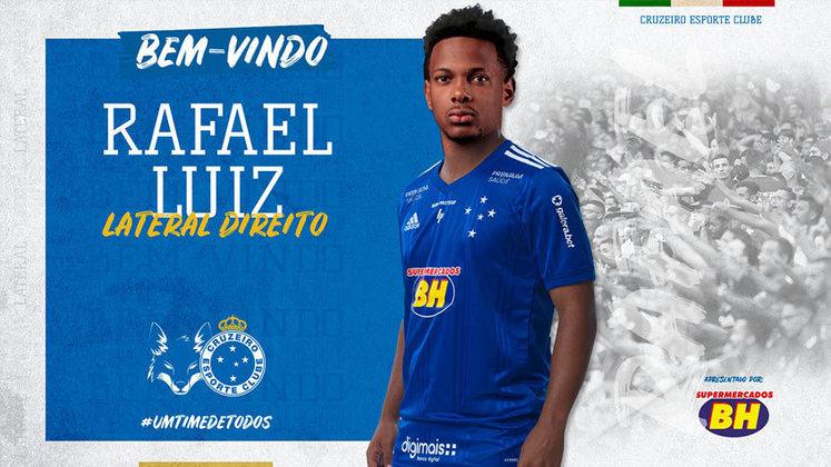 FECHADO - O diretor de futebol do Cruzeiro, André Mazzuco, revelou que a Raposa não seguirá com o lateral-direito Rafael Luiz. O empréstimo do jogador ainda não se encerrou, mas o time azul vai devolvê-lo à Ferroviária, que é dona de seus direitos econômicos.
