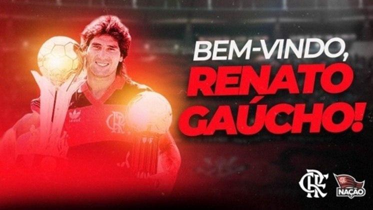 FECHADO - O Flamengo demorou menos de 24 horas para definir o novo treinador após a demissão de Rogério Ceni. Após negociação 'relâmpago' no sábado (10), o clube anunciou, por meio das redes sociais, a contratação de Renato Gaúcho. O técnico assinou até o fim de 2021 e enfim realizará o sonho de dirigir o clube rubro-negro.