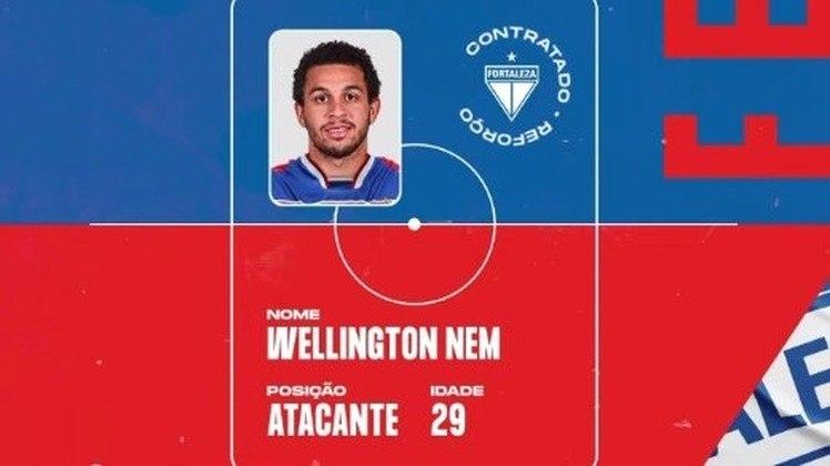 FECHADO - O Fortaleza anunciou a contratação do atacante Wellington Nem. O atleta estava sem clube e chega para reforçar o Leão na temporada.