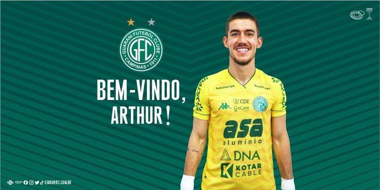 FECHADO - O Guarani acertou a contratação do goleiro Arthur, que chega para defender o Bugre até o final de 2022.