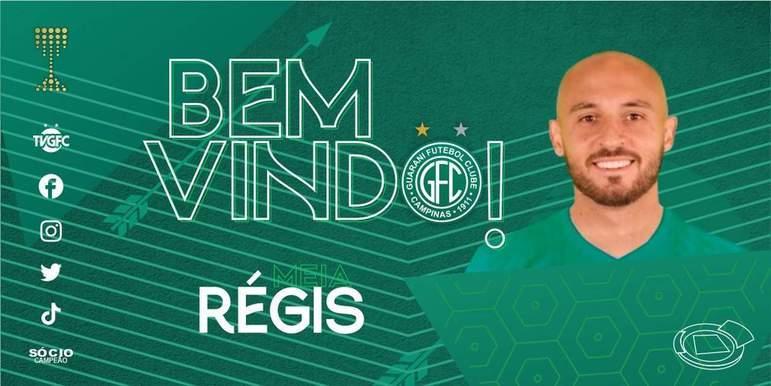 FECHADO - O Guarani acertou a contratação do meia Régis, que já defendeu o Corinthians e estava no Cruzeiro na última Série B.