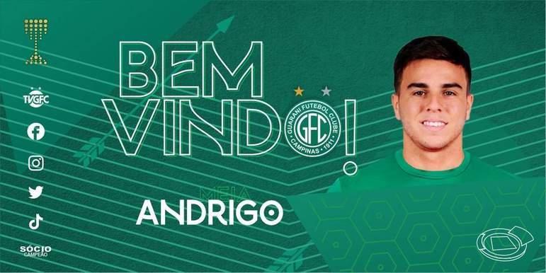 FECHADO - O Guarani anunciou o reforço do meia Andrigo, ex-Internacional e CSA até o final do Brasileirão Série B 2021.