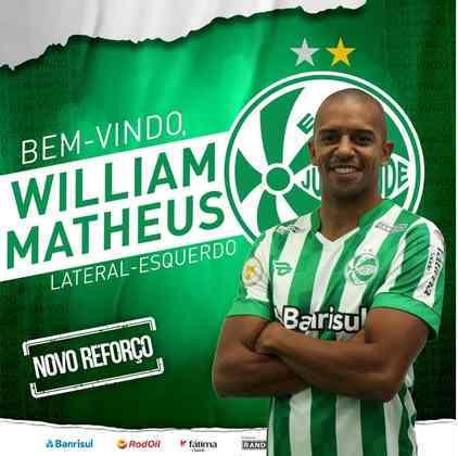 FECHADO - O Juventude anunciou mais um reforço para a disputa do Brasileirão 2021. O clube gaúcho divulgou a contratação do lateral-esquerdo William Matheus, que passará por exames e assinará o contrato.