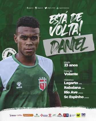 FECHADO - O Lagarto anunciou a contratação do volante Daniel, que já atuou pelo clube em 2018 e volta para jogar o Campeonato Sergipano de 2021.
