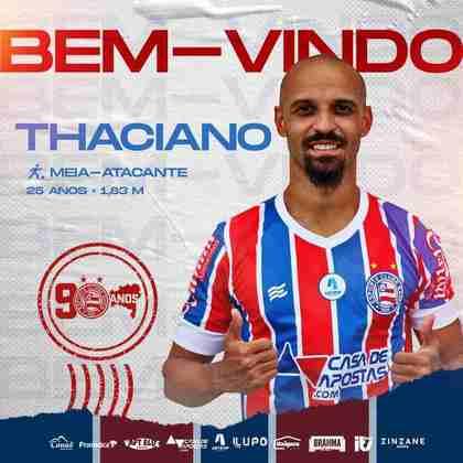 FECHADO - O meia Thaciano fechou um empréstimo junto ao Bahia e defenderá o Tricolor de Aço em 2021.