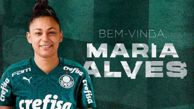 FECHADO - O Palmeiras anunciou a contratação da atacante Maria Alves, de 27 anos, que chega para reforçar o time feminino para a temporada 2021. A atleta retorna ao Brasil após uma passagem vitoriosa pela Itália, onde defendeu a Juventus, campeã da última edição da Liga Italiana.