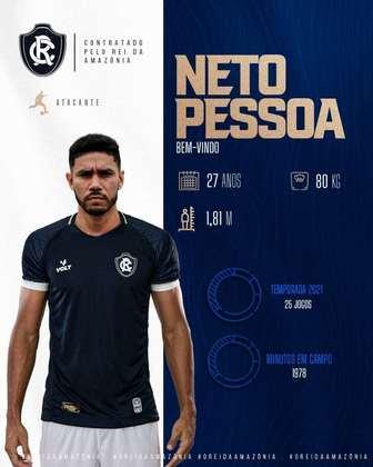 FECHADO - O Remo ainda não descansou no mercado e contratou o atacante Neto Pessoa, ex-Botafogo-SP, para o restante de 2021.