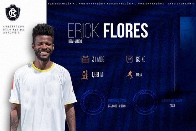 FECHADO - O Remo anunciou o empréstimo do meia Erick Flores, que chega do Boavista para a temporada 2021.