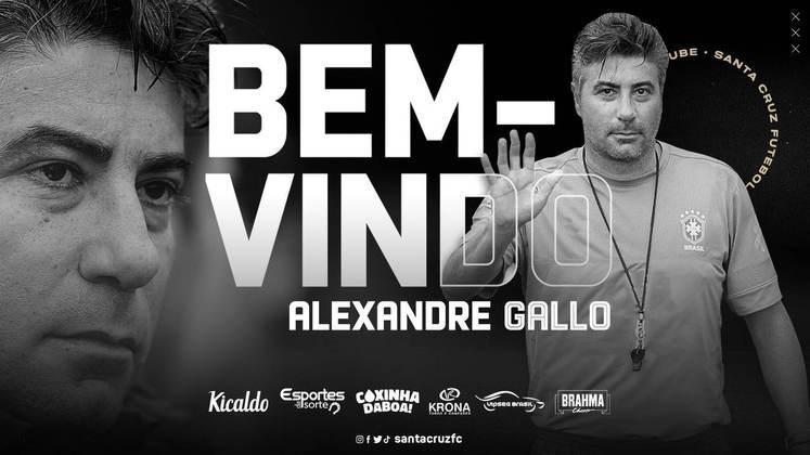 FECHADO - O Santa Cruz anunciou a chegada do técnico Alexandre Gallo para 2021.