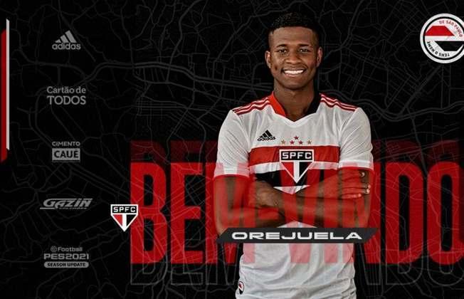 FECHADO - O São Paulo oficializou na tarde desta quinta-feira (11), a contratação do lateral-direito Orejuela, de 25 anos. O colombiano assinou contrato com o Tricolor até março de 2025 e chega para suprir a lacuna na lateral após a saída do espanhol Juanfran.