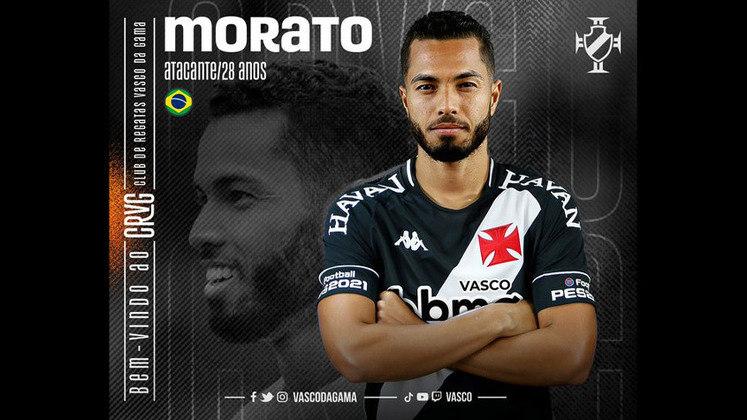 FECHADO - O Vasco acertou a contratação do seu quinto reforço para a temporada. Trata-se do atacante Morato, que pertence ao Red Bull Bragantino, e assina por empréstimo até o final de 2021.