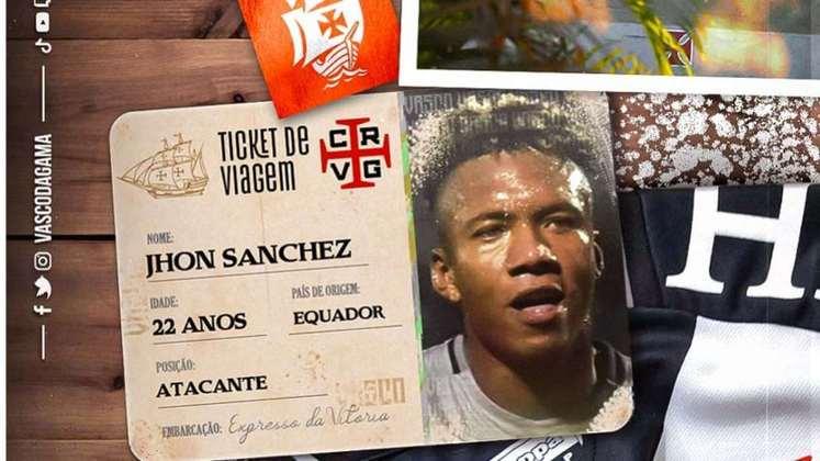 FECHADO - O Vasco anunciou, na manhã desta segunda-feira, a contratação por empréstimo do atacante equatoriano Jhon Sánchez, de 22 anos, junto ao Independiente del Valle. O acordo é válido por um ano e o Cruz-Maltino terá a opção de compra após este prazo. O jogador chega para reforçar a equipe do técnico Lisca, que já havia sinalizado a necessidade de novos nomes