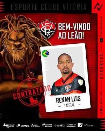 FECHADO - O Vitória anunciou a chegada do lateral-esquerdo Renan Luis para a temporada. O atleta vem do Figueirense e já pode defender o Leão após passar nos exames médicos e ser inscrito no BID.