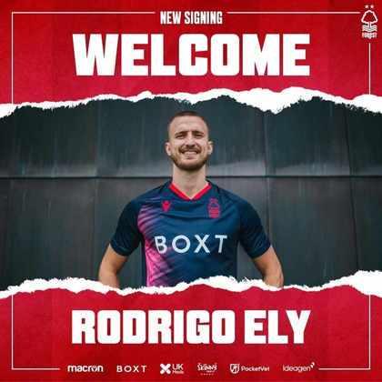 FECHADO - O zagueiro brasileiro Rodrigo Ely foi contratado pelo Nottingham Forest até o final da atual temporada.