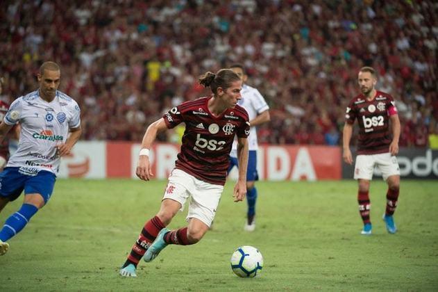 Fechando o ciclo de contratações feitas pela gestão Landim em 2019 está Filipe Luís, titular absoluto da equipe desde então. O experiente lateral-esquerdo é um líder técnico, e tem contrato com o clube até dezembro.