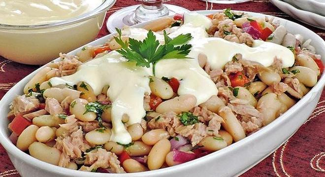 feijão branco salada