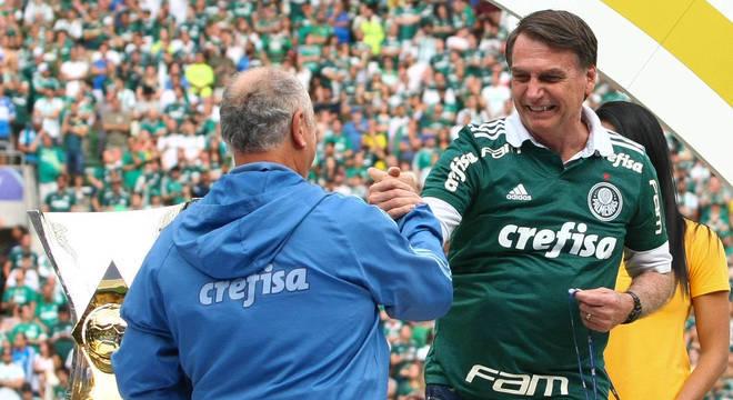 Felipão e Bolsonaro. Admiração mútua que se tornou pública com o decacampeonato