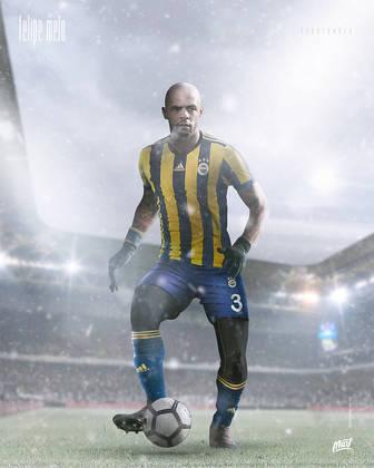 Felipe Melo, ídolo do Galatasaray, vestindo a camisa do Fenerbahçe